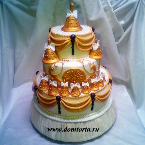 Тата1978.  Мне понравилась идея вот такого торта. .  На нем сделаны 11 колокольчиков с каждым годом учебы. .